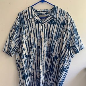 Vince button up short hand dyed